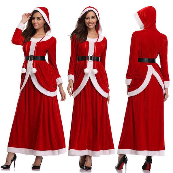 CALOFE femmes de Noël Cosplay Vêtements Mme Père Noël costume de Père Noël Helper robes à capuche Top manches longues Set Plus Taille M-XL