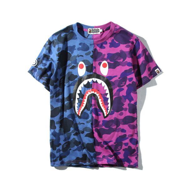 2019 Hot Blue Purple Shark Camo Stitching T-shirt Men Women Crew Neck Cotton Cotton Printed Short Sleeved T-shirts Sizes M-2XL