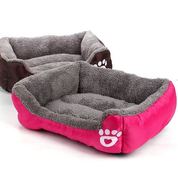 best selling Wholesale 6 Colors Soft Warm Pet Puppy Bed Thicken Soft Breathable Dog Bed Puppy Dog Cat Kitten Fleece Autumn Winter Warm Bed BH0314