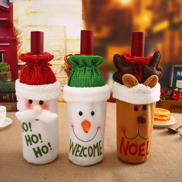 Misaya 1Pc Santa Claus Red Wine cubierta de la botella linda bolsas titulares regalo de Navidad franela cena decoración de la mesa de ropa