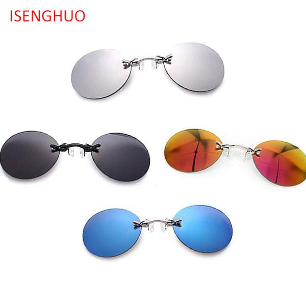 ISENGHUO 4 Pairs Retro Round Clip On Nose Polarized Sunglasses Mini Small Black Matrix Morpheus Movie Eyewear With Box