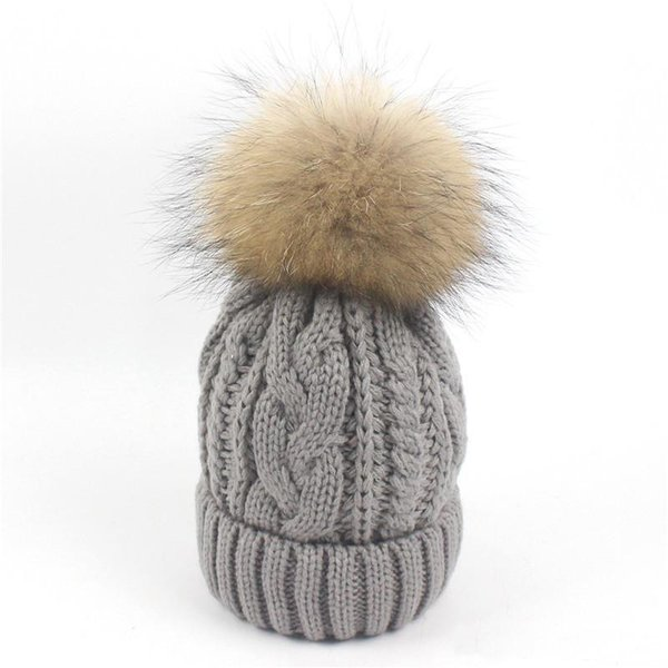 Winter Autumn Knitted Hat warm fleece Beanie Pompom Kids Children Skiing Hats Raccoon fur Ball baby boys and girls caps