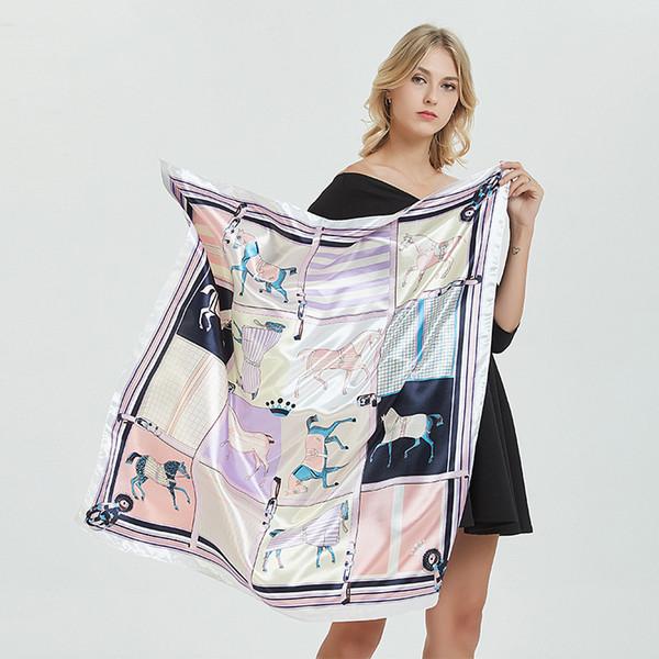 Designer cavalo Scarves 90cm x 90 centímetros Imitação Lenços de seda Impressão Moda Padrão Stain Praça do envoltório do lenço Mulheres Stain Toalha 40 cores