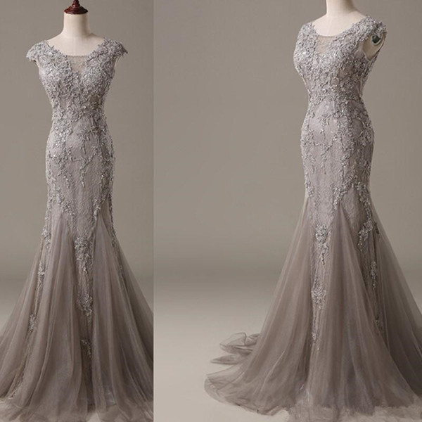 2019 Luxury Grey Evening Dresses Wear Mermaid Real Pictures Long Tulle 3D floral Appliques Lace Formal Prom Gowns For Women Vestido De Festa