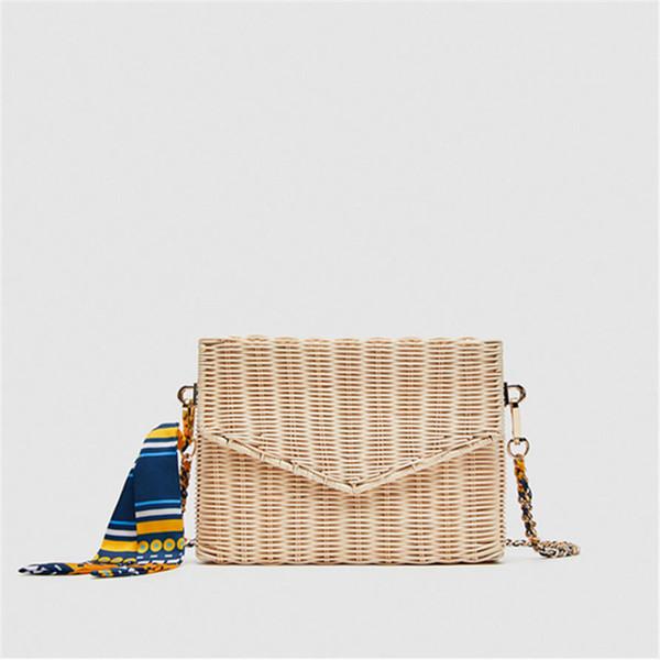 Fashion Summer Lady Women's Handbags Scarves Box Trunk Bags Straw Weave Luggage Lunch Beach Bags Retro Fresh Style