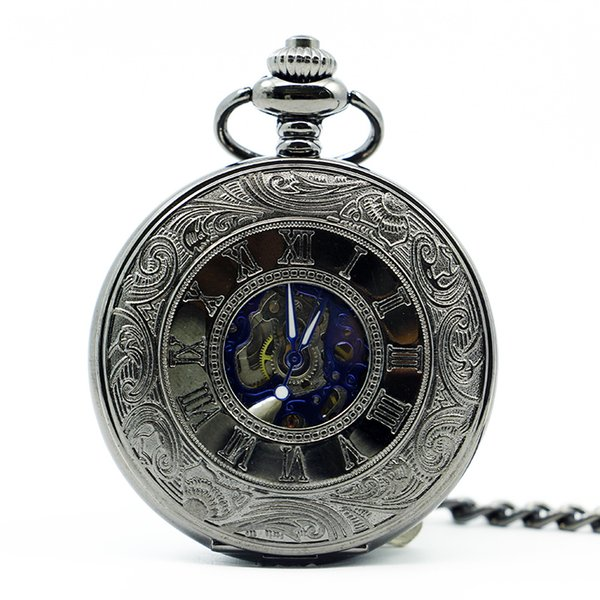 Antique Skeleton Blue Roman Numerals Dial Black Alloy Case Mechanical Hand Wind Long Fob Chain Clock Men Pocket Watch PJX1244