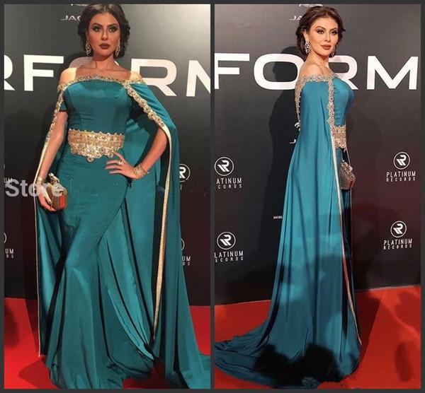 Peacock Off Shoulder Evening Dress Long with Cloak Gold Beads 2019 New Arrival African Formal Dresses Kaftan Celebrity Gowns Vestidos De