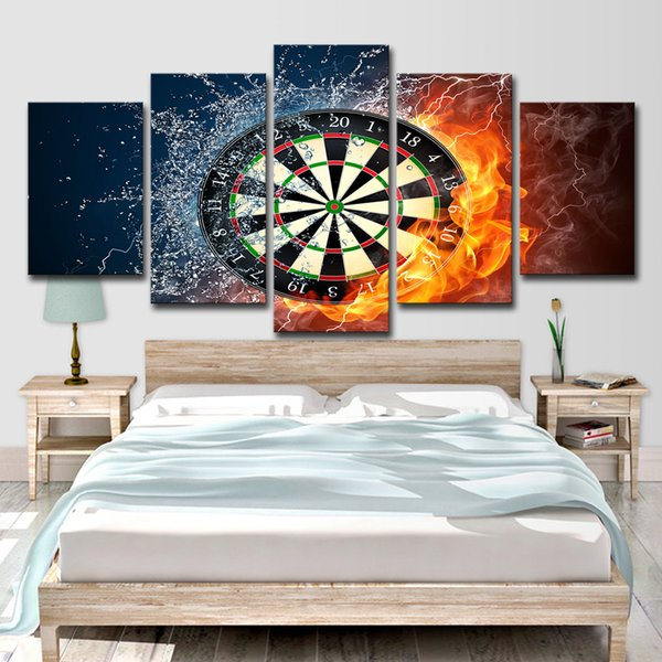 2019 5 Panel Darts Wheel Target Fire Modern Home Wall Decor Painting Canvas  Art HD Print Painting Canvas Wall Picture For Home Decor From