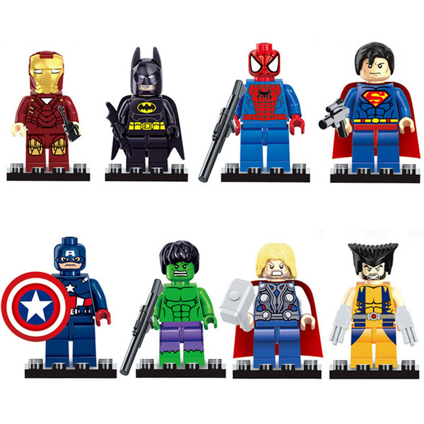8pcs Avengers Super Hero X-Men Iron Man Tony Stark Hulk Thor Spider Man Superman Captain America Wolverine Batman Building Block Toy Figure