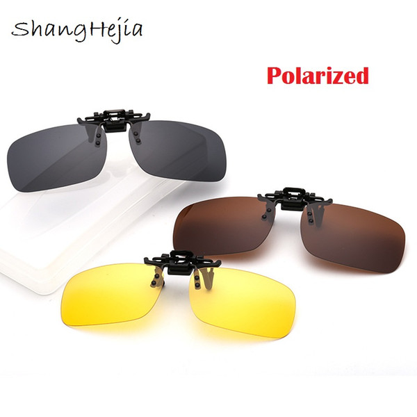 NEW Polarized Sunglasses Clip On Glasses Sun UV400 Protective For Night Driving
