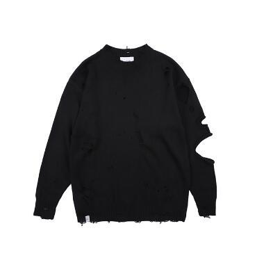 Holes Black Sweater Winter Fashion Sweater Mens Knaye West Vintage Hip-Hop Style oversized Stitching high quality sweater men Pullovers