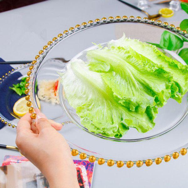 21cm rond de mariage clair or verre perlé chargeur chargeur pates plaque de verre pour la décoration de table de mariage EEA523
