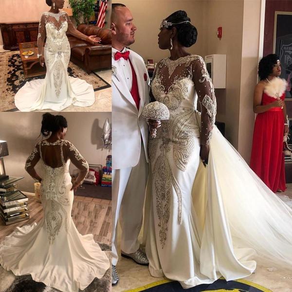Abiti da sposa su misura Abito da sposa da sposa a sirena in rilievo di lusso nigeriano africano con gonna staccabile Abito senza maniche a maniche lunghe trasparente
