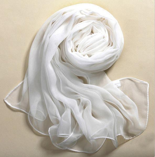 Chegada nova cachecol mulheres sólido Branco Puro Macio e Fino longo cachecol xales e lenços de alta qualidade foulard femme