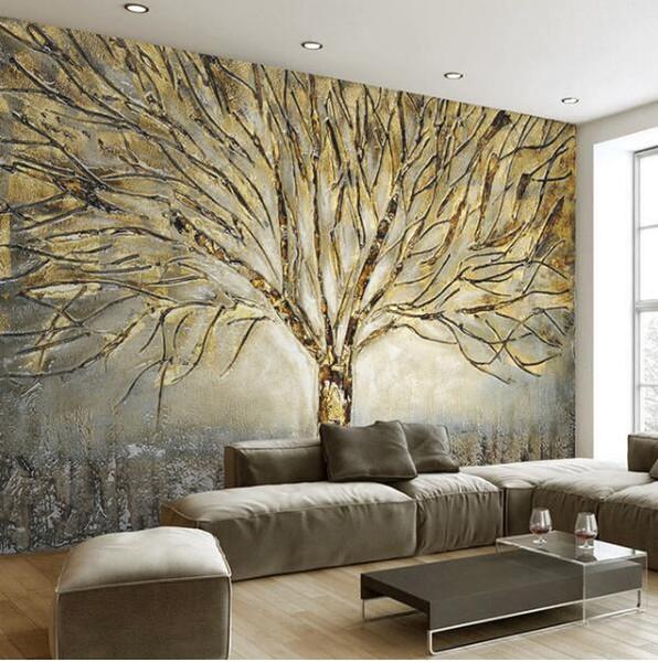 Custom Painting 3D per pareti carta da parati moderna moda olio astratta Relief dell'albero di arte salone TV Sfondo Mural Wall Paper