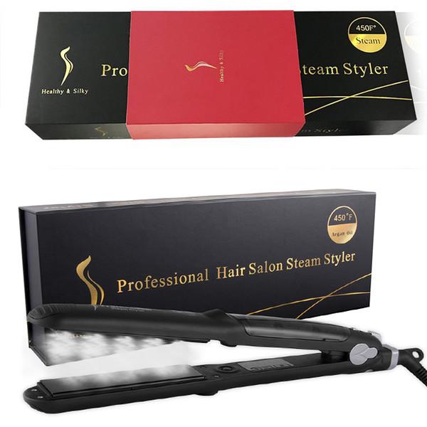 TAMAX HS002 Professional 450F Ceramic Vapor Hair Straightener Argan Oil Steam Flat Iron With Gorgeous Packing Fast Heating Iron