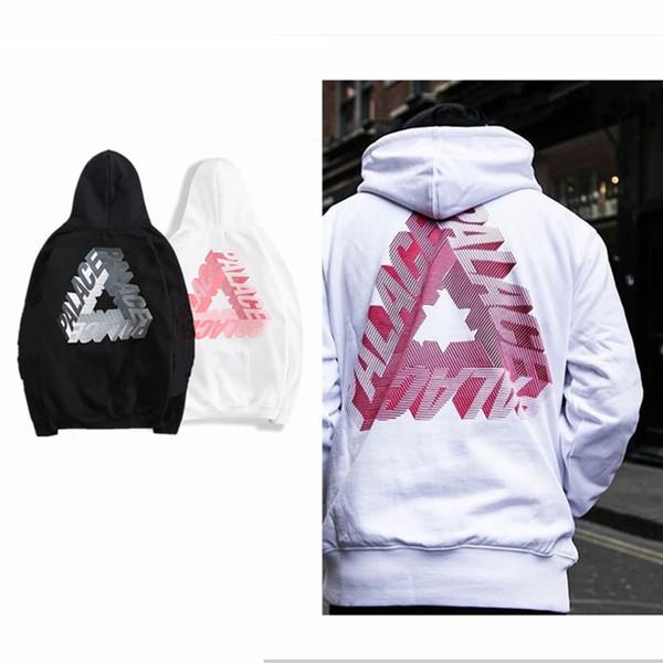 Noir et blanc TRI PALACES plus sweatshirts en velours automne hiver polaire hommes hoodies marée pull en skateboard streetwear occasionnel taille S-XXL