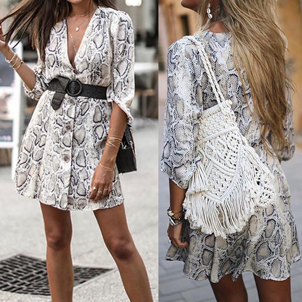 Ladies Snake Skin Print Dress Frill Sleeve Bodycon Sleeveless Party UK