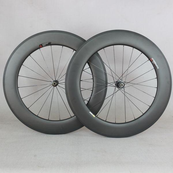Cerchi in carbonio da 88 * 25mm aero full carbon T800 leggeri tubolari ruote da strada in carbonio con mozzi DT dritti