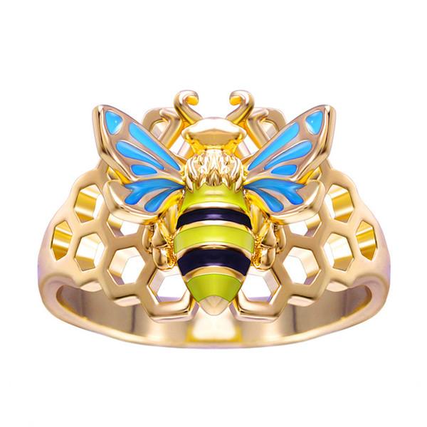 Moda kişilik petek arı içi boş halka emaye geometrik böcek halka halka nişan partisi takı boyutu 6-10
