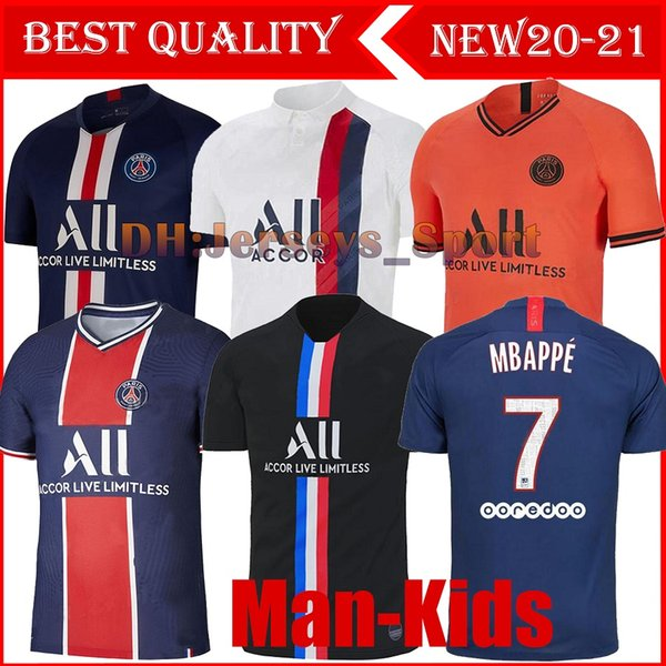 Maillots De Football Kit 19 20 Psg Soccer Jersey 2019 2020 Mbappe Icardi Marquinhos 4th Shirt Men Kids Sets Maillot De Foot Cavani Fourth Black Yellow Buy At The Price Of 16 47