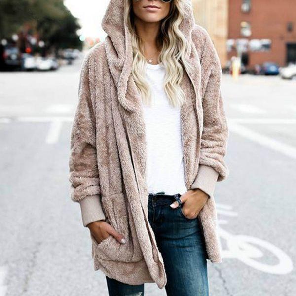 Yeni Yıl Bahar Sonbahar Faux Kürk Teddy Bear Ceket Ceket Kadın Moda Açık Dikiş Kapüşonlu Ceket Kadın Uzun Kollu Bulanık Ceket 3XL