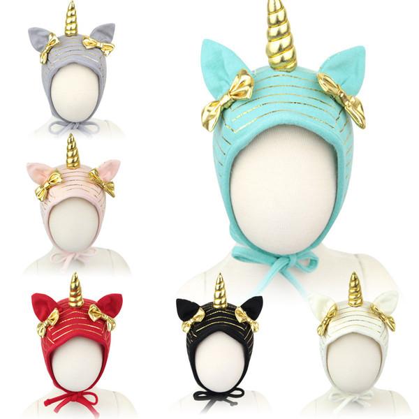 Enfants Chapeau Licorne Chapeau filles Enfant chapeau Bow chapeau nouveau-né taille basse casquette chapeau tuques en tricot d'hiver