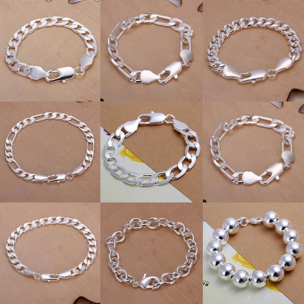 2019 hot Promotion Multi Styles Of Fashion Bracelet Men's Boys' plating 925 Sterling Silver Jewelry Curb Figaro Chains 9 Styles 9pcs/lot