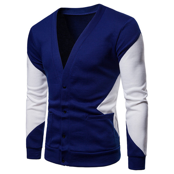 Hit Color Patchwork Cardigan Sweater Men Casual V Neck Male Black White Knit Pockets Sweaters Fashion Street Wear Pull Homme XXL J1907104