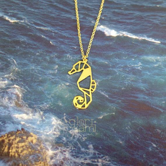 Tendance Origami Seahorse Collier Femmes Déclaration Collier Bijoux Animaux Océan animal, amoureux des animaux