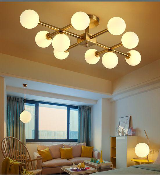 Северная Европа LED Modo стеклянный шар люстры освещения Золотой кулон лампы стекло абажур Потолочный светильник для Livingroom Ресторан Спальня