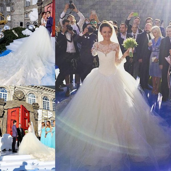 Princess Castle Ball Gown Wedding Dresses Puffy Skirt Top Lace 2019 Sheer Long Sleeve Chapel Train Modest Gorgeous Bridal Gowns Bride Dress