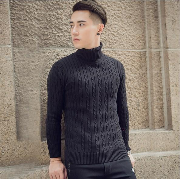 Korean Style Männer Langarm Rollkragenpullover und Pullover Männer Stehkragen Streetwear Strickpullis Pull Homme