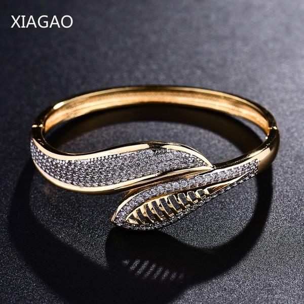 XIAGAO High Quality Gold Colour Women Cuff Bangle Jewelry Brand Bracelet & Bangle For Women Men Mirco Pave CZ Pulseiras C19010401