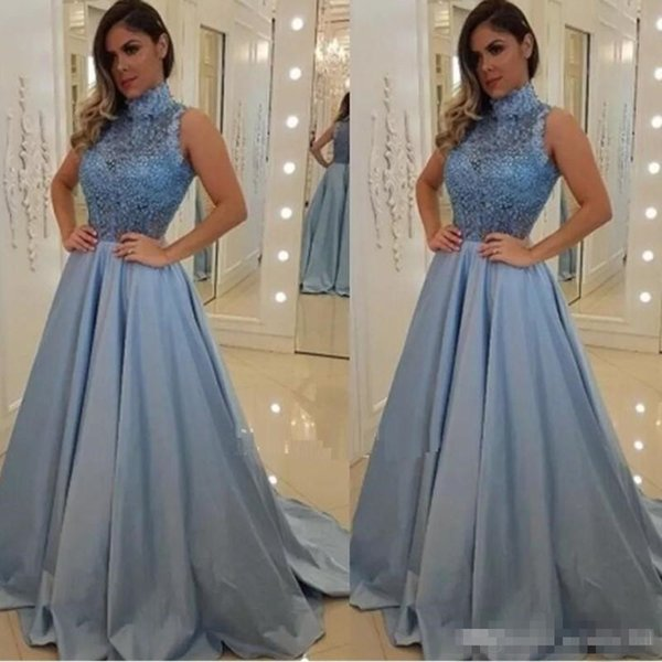 Beautiful High Neck Prom Dresses A-Line Lace Appliques Beaded Women Party Gowns Sweep Train Ruffles Abaya Formal Dresses Vestidos De Fiesta