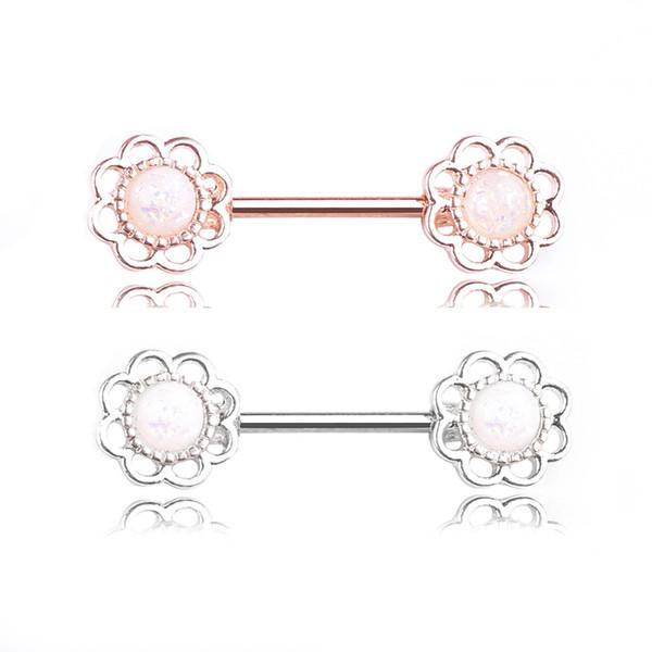 Anneau De Mamelon De Fleur En Acier Inoxydable Barres Barell Helix Pircing Corps Jeweley Piercing Boucle D'oreille Femmes