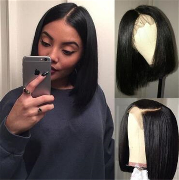 Wigs for Black Women full Lace Wigs 100% Virgin Human Hair Short Bob Straight Wigs Medium Cap Middle Part