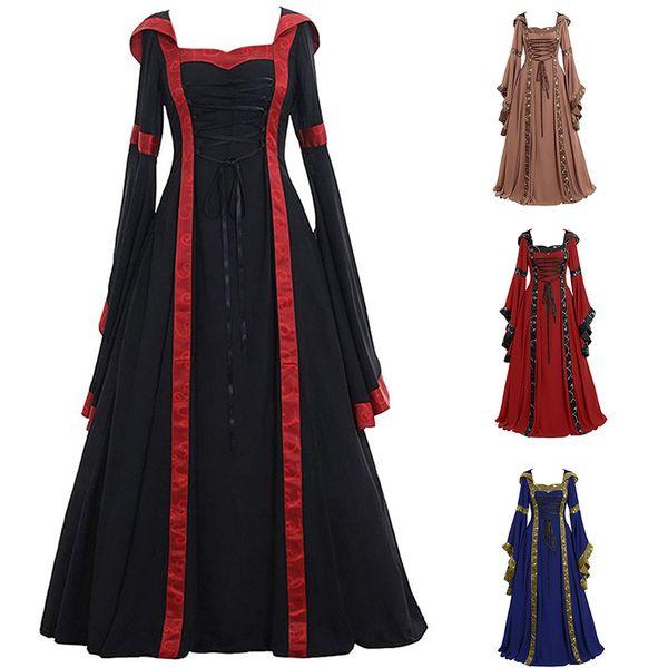 Halloween Costume Renaissance Médiévale Déguisement Femme Robe Médiévale Manche Longue dress Vert