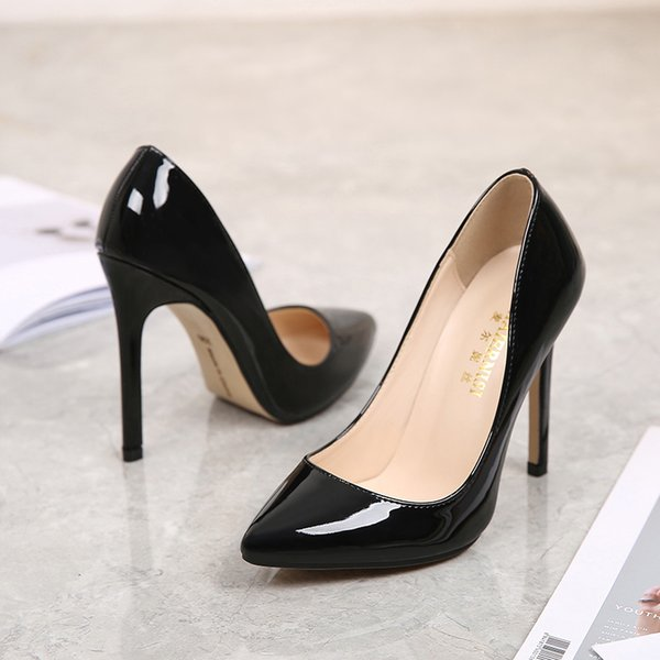 2019 Dress MAIERNISI New Fashion High Heels Women Pumps Thin Heel Classic Sexy Prom Wedding Shoes Office Womens Shoes Big Size 35-46 Leather