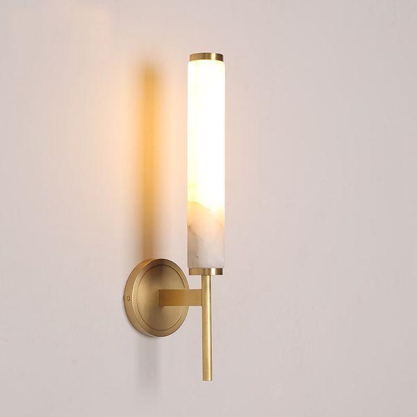 Lampada da parete in marmo tutto rame parete da parete in marmo naturale lampada da comodino camera da letto corridoio luce del bagno applique da parete a led