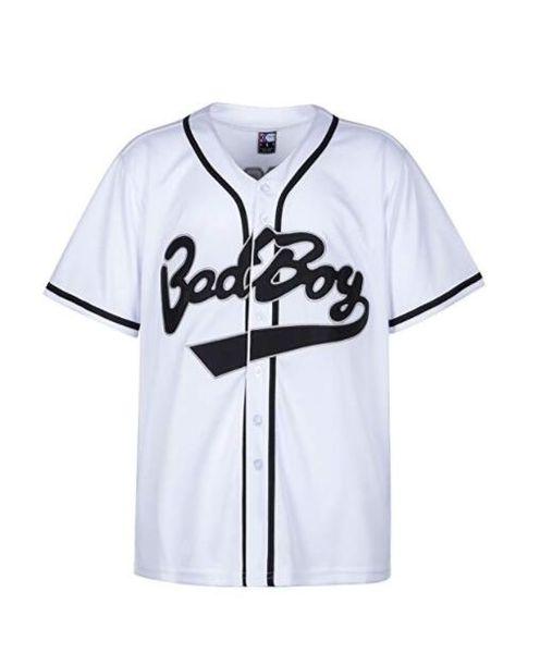 Badboy # 10 Biggie camisa de basebol S-XXXL branco, 90S Hip Hop vestuário para festa, letras e números costurados