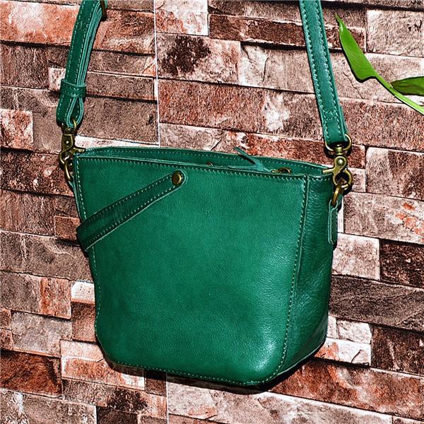 Environmental Natural Cow Skin Lady Green Bucket Purse Women's Small Handbag Zipper Closure Genuine Leather Lady Messenger Bag