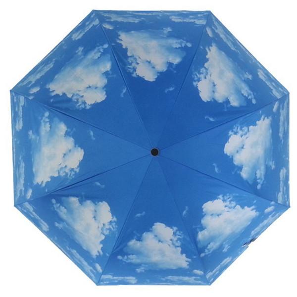 Sombrilla universal para sol / lluvia / viento Protección solar anti-UV Sombrillas de poliéster Sombrilla para lluvia Blue Sky 3 Plegable