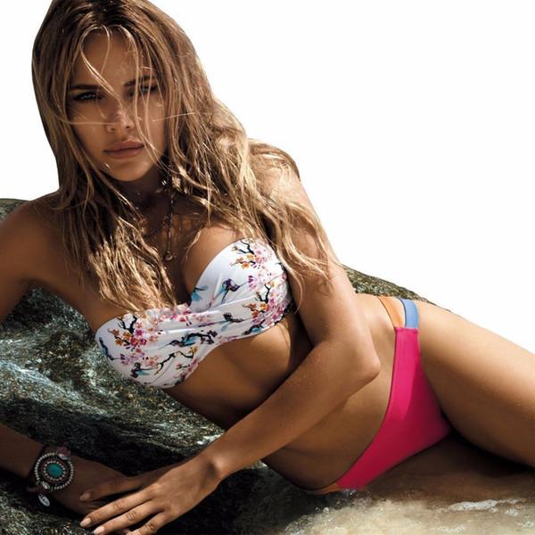 Tengweng schöne Frauen Sexy Push Up Bikini Bandeau Print Floral Badeanzug Plus Size Bademode ausgeschnitten brasilianischen weiblichen Badeanzug