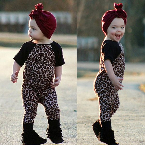 Baby Girls Short Sleeve Leopard Romper Childrens Jumpsuits Toddler Clothing Cute Infant Bodysuit Boutique Onesies Clothes