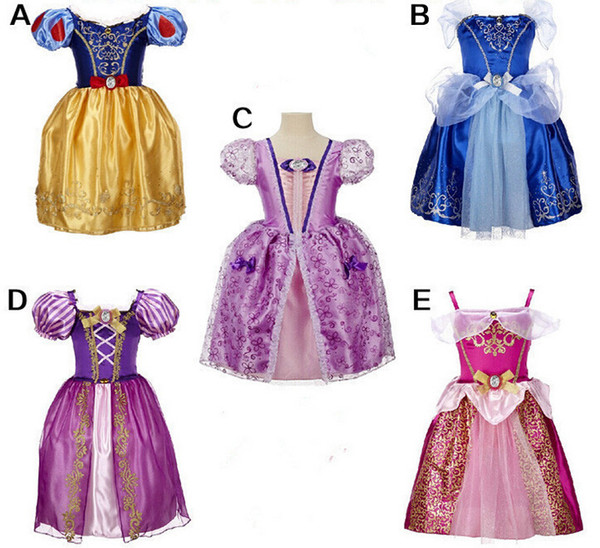 Girls princess cosplay long dress 5 styles Kids summer party performance cosplay cotume 5-10T Kids fairy tale movie princess clothing