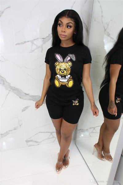 Ours paillettes sexy 2 pièces assorties ensembles femmes vêtements o-cou manches courtes et moulante shorts bande dessinée deux tenues tenues noir NB-1271