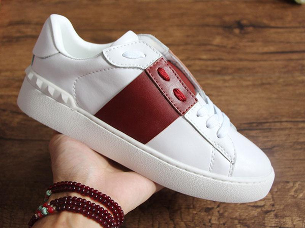 Open Designer Shoes With Fire Top Quality White Men Italian Real Leather Designer Sneaker Best Stripe Casual Shoes for Women T01