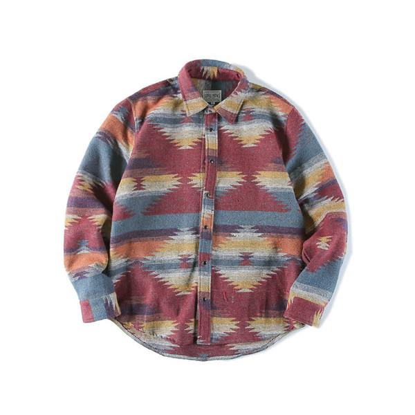 Long Sleeve Flannel Shirt Men Vintage Casual Hip Hop Mens Shirts Streetwear Punk Rave Fashion Vestido Man Blouse C7009
