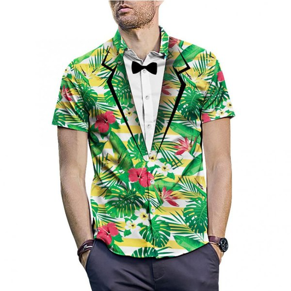 Fitted New Men Summer Tee Shirt Green Plant Leaves Print Tun-down Collar Short Sleeve Shirt High Quality Comfortable Top